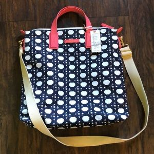 Caning Canvas Saffiano North South Tote Navy/Coral